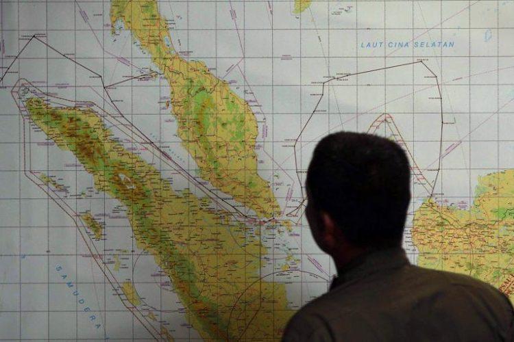 Zona donde podría estar el Boing de Malaysia Airlines